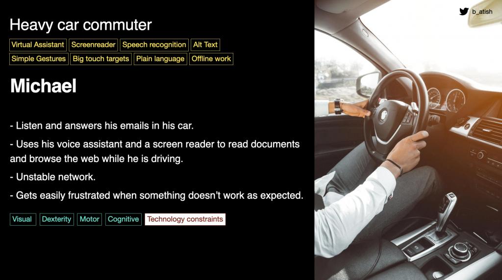 Persona Karte für Michael, eine Person fährt ein Auto, kein Kopf und kein Gesicht zu sehen. Es ist ein Automatik-Auto, die Sonne scheint davor.