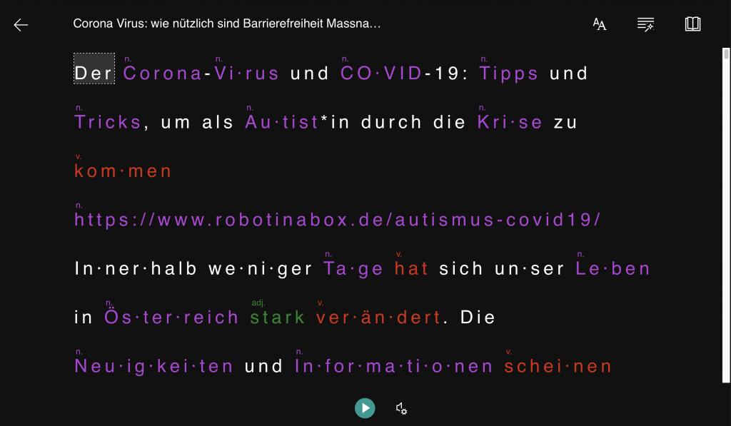 Microsoft oneNote Immersive Reader: Schwarz Hintergrund, Grammatik und Silbentrennungsfunktion sind aktiviert
