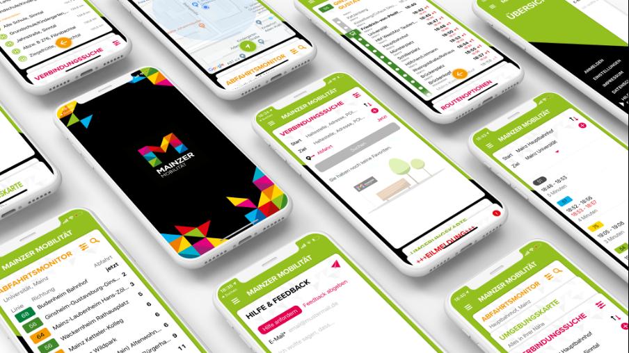 Zehn Smartphones, die die MainzerMobilitäts-App zeigen. Dazu gehört de Startbildschirm, die Verbindungsauskunft, Hilfe & Feedback, der Abfahrtsmonitor und die Umgebungskarte.