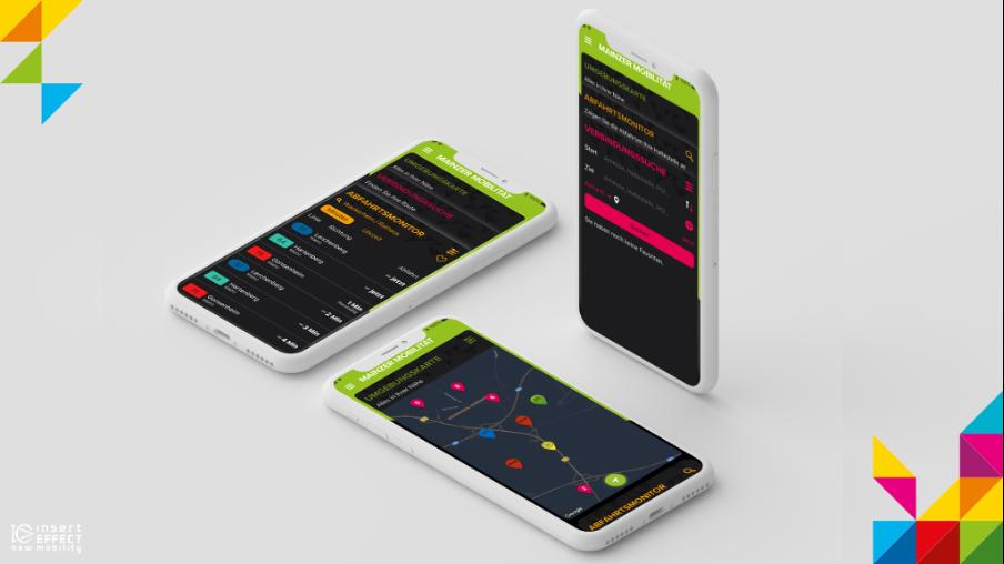 Drei Screens im Dark Mode mit den invertierten Farben. Der Hintergrund ist dunkel und der Text hell.