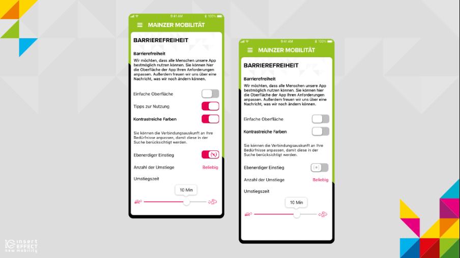 Zwei Screens mit den EInstellungen zur Barrierefreiheit. Auf den einen Screen sind die Schalter für Tipps zur Nutzung, Kontrastreicher Modus, Ebenerdiger Einstieg an, auf dem anderen Screen aus.